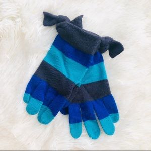 Kate Spade Blue Stripe Bow Accent Cuff Wool Gloves